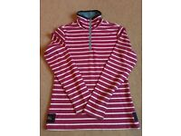 Joules Cowdray Sweatshirt Size 8 - Burgundy/White Stripe