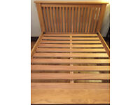 Double size solid oak bed frame, strong and in great condition with mattress,king size available too