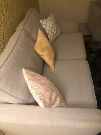 Grey modern grey sofas & footstool / can deliver
