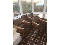 4 leather directors chairs and table