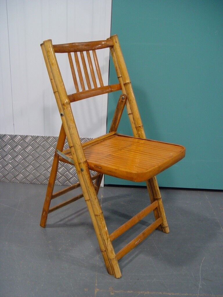 free delivery vintage bamboo folding chair retro mid century