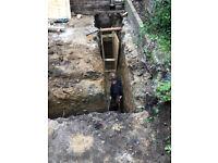 Soak aways, base for extension, underground plumbing, new water pipe digging work, driveways