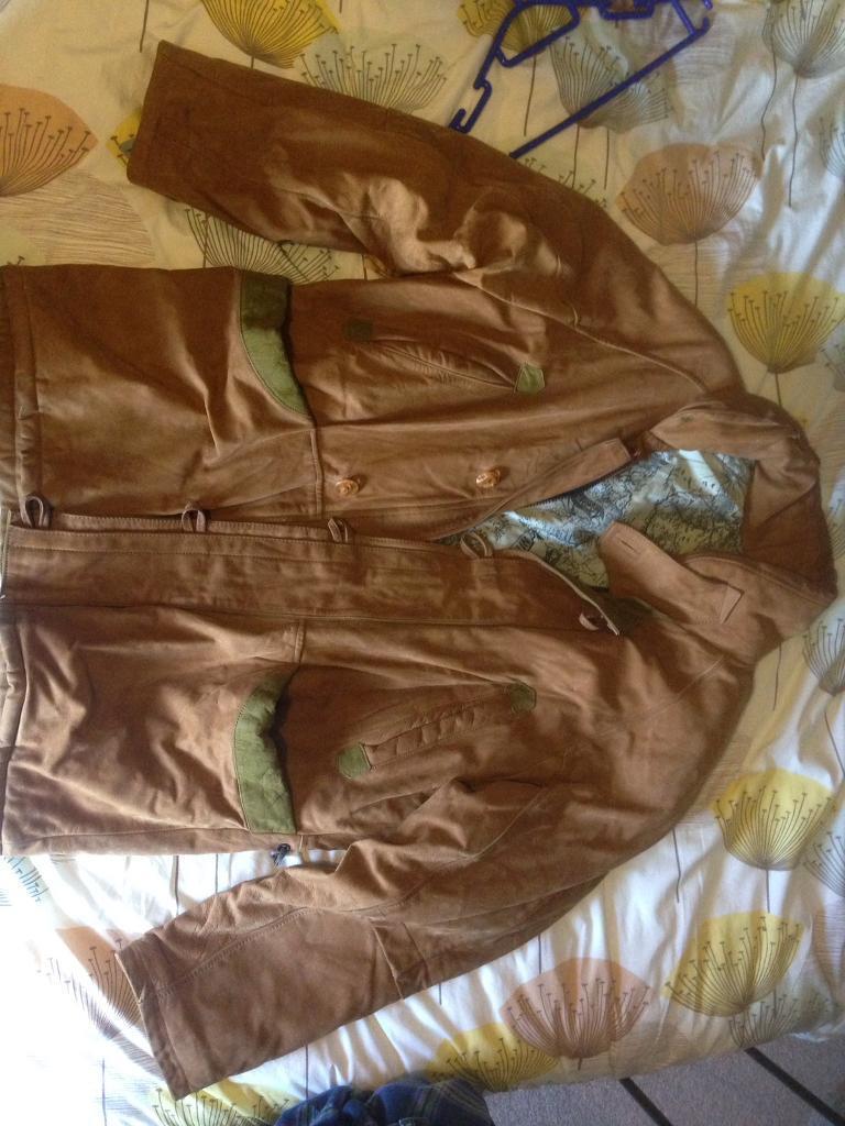 Suede leather coat.