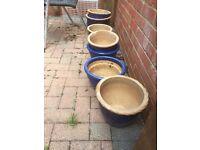 7 Blue Garden Pots.