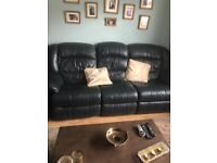 Leather Sofa and 1 armchair , reclining (blue)