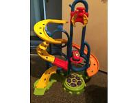 Bright fun toy track with bubble car and drop zone