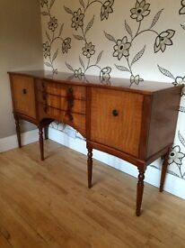 LOVELY TEAK FINISH LONG SIDEBOARD WITH 3 DRAWERS AND END CUPBOARDS