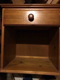 Solid honey pine bedside table