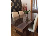 Dining table 4 chairs and custom cut glass top
