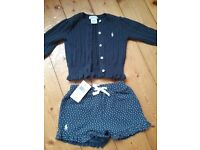 Ralph Lauren Navy cardi and Shorts and Calvin Klein dress and pants set 12months and 18 months