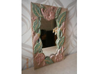Mirror in carved solid wood frame