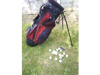 Penn Prop Up Black/Red Golf Bag In Good Condition c/w