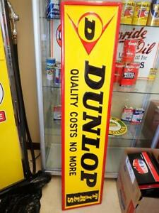 "VINTAGE OLD DUNLOP TIRE SIGN TIN NOT PORCELAIN 60"" X 13.5"" NICE SHAPE $1300"
