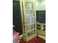 2 x Pine fully glazed interior doors