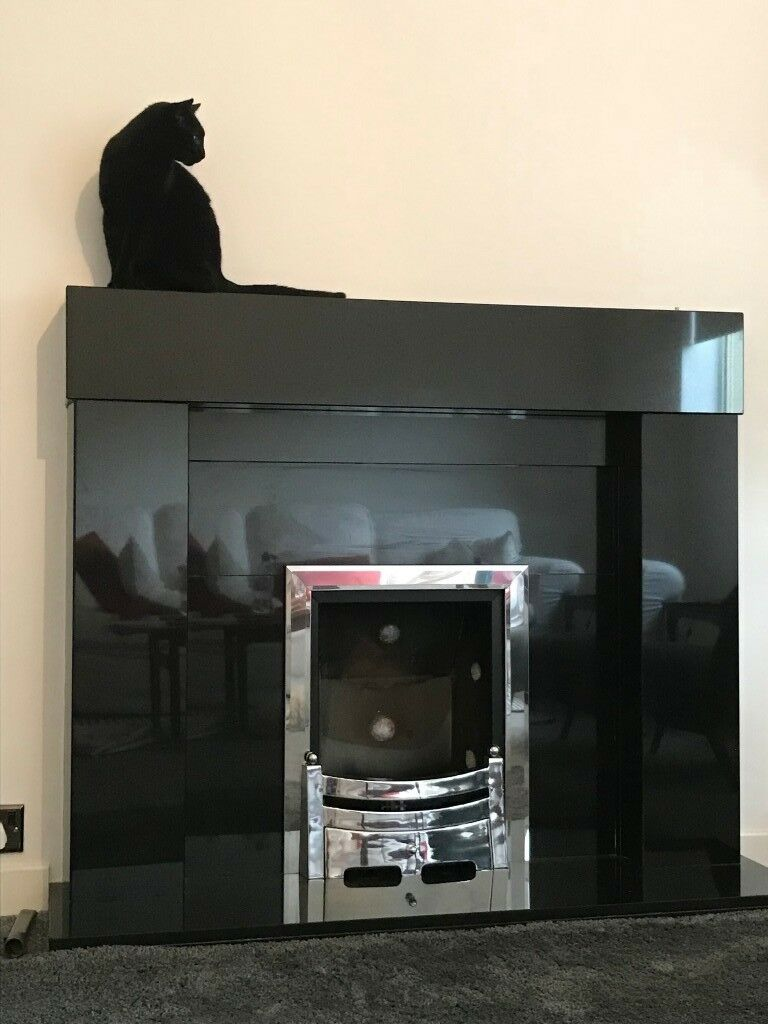 Polished Black Granite Fireplace Surround Hearth And Mantlepiece Exc Cond Er To Remove