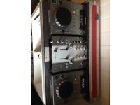 Pioneer CDJ350, DJM mixer and flightcase