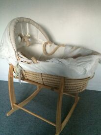 Moses basket and stand with bedding