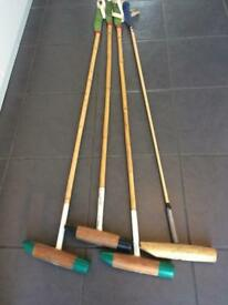 ANTIQUE VINTAGE SET OF FOUR HAND MADE BAMBOO WOODEN POLO STICKS/MALLETS