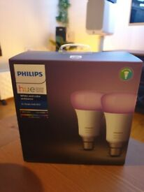 Philips Hue White and Colour Ambiance x2 B22 Fitting