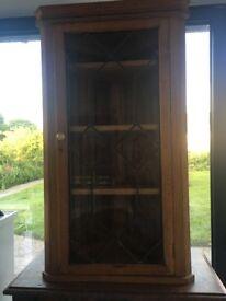 Oak Corner Cupboard With Leaded Light Glass Door