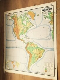 Vintage French school wall hanging map of North/South America