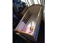 Wooden Crib Base & Mattress