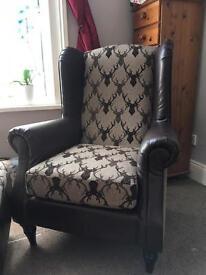 Schreiber Wingback Chair & Pouf