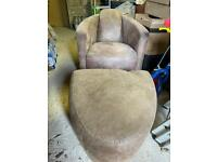 Faux leather chair and puff great condition