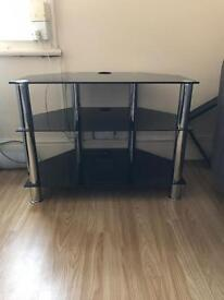 Black glass tv unit for sale - perfect condition