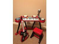 ELC Keyboard, Stool & Guitar