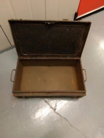 Vintage metal trunk with two handles