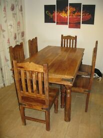 Solid indian rosewood dining table & 6 chairs