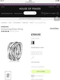 Pandora ring to clear like new