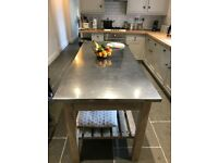 Industrial Kitchen Freestanding Island/ Workbench/ Old School Science Bench Wood Stainless Steel Top