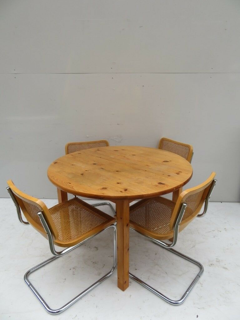 Pine table 4 woven chairs fine used condition