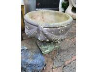 Small stone urn vintage planter plant pot