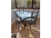 Square Glass & Cast Iron Table & 4 chairs. Conservatory/Dining
