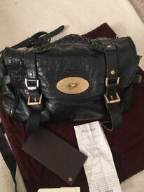 Black Leather Mulberry Alexa Bag