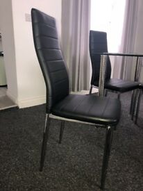 6 x black dining chairs for sale. Could be upholstered