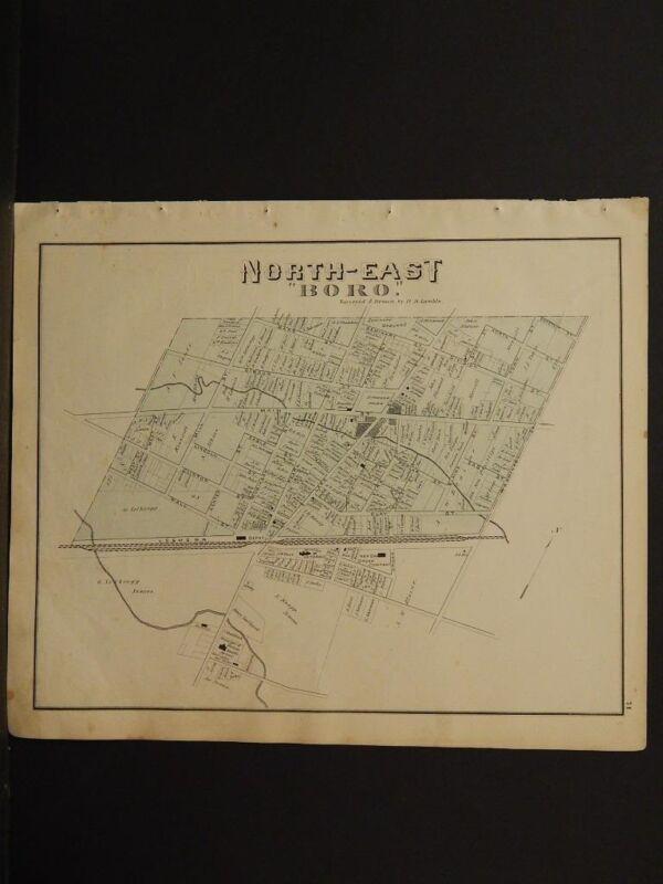 "Pennsylvania, Erie County Map, 1876 Northeast ""Boro"" N6#80"