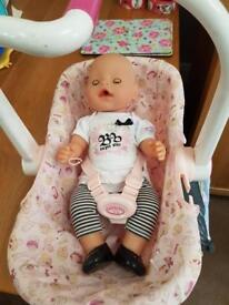 Baby Annabelle car seat & baby born doll ex con