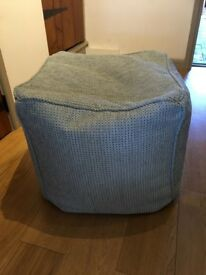 Cube beanbag in pastel blue colour. Excellent condition.