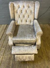CRUSHED VELVET CHESTERFIELD FABRIC ARMCHAIR USED