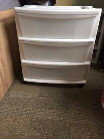 Argos 3 drawer, wide plastic storage tower (white), perfect condition.