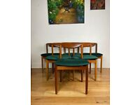 Mid-Century Modern Teak and Velvet Dining Chairs Set of Six FREE LOCAL DELIVERY