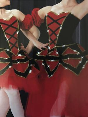 DANCE COSTUME PROFESSIONAL BALLET  SPANISH RED AND BLACK DON Q