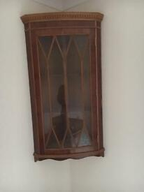 Wall mounted corner display cabinet