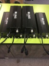 10 x Used Hydroponic 600w Grow Light Kit Lumii Digital Dimmable Ballasts / Bulbs / Reflectors £550