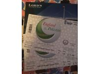 2 England v Pakistan ODI (Lords) tickets - Saturday 27 August