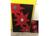 Large Handmade Black & Red Canvas
